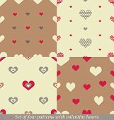 Cute seamless patterns for Valentine's day design.