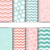 stock photo of dots  - Set of blue pastel and pink jumbo polka dots gingham and chevron seamless patterns - JPG