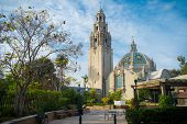 Balboa Park San Diego, California USA, Bell Tower and Garden Patio