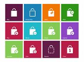 Shopping bag icons on color background.