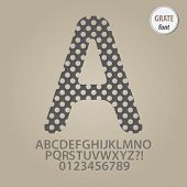 Abstract Grate Alphabet And Digit Vector