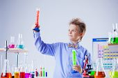Handsome school boy posing with test-tubes in lab