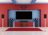 Red And Blue Home Cinema Room