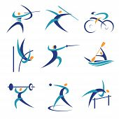 stock photo of weight lifter  - Colorful Icons and illustrations with athletes - JPG