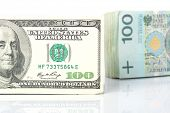 Currency exchange with US dollar and Polish zloty
