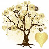 Gold Valentine Decorative Tree