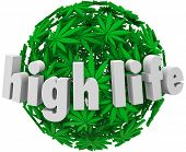 stock photo of mary jane  - High Life Marijuana Leaf Sphere Stoned Dope Joint - JPG