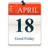 picture of friday  - Vector Calendar of Good Friday 18th Apri 2014 - JPG