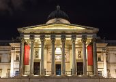 LONDON, UK - Circa DECEMBER 2012: The National Gallery in London at night. The National Gallery houses a collection of over 2,300 paintings.