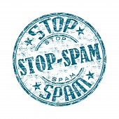 Stop spam grunge rubber stamp