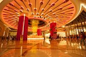 MACAU, CHINA - NOVEMBER 3, 2012: Brilliant musical fountain at the entrance to the casino Galaxy Mac