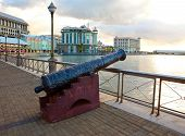 Gun on the embankment Port-Louis- capital of Mauritius