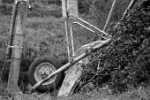 stock photo of ou  - the Old Wooden Cart in the meadow - JPG