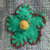Blue-green Flower Embroidered Onto Fabric