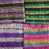 Four Squares Of Textured Striped Fabric