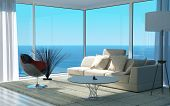 stock photo of comfort  - A 3D rendering of sunny living room interior - JPG