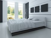A 3D rendering of white bedroom