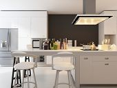 stock photo of stool  - A 3D rendering of modern kitchen - JPG