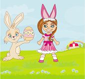 Girl In Bunny Costume And Sweet Easter Bunny
