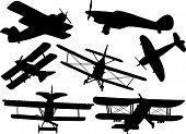 image of fighter plane  - Collection of model fight air planes silhouette - JPG