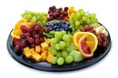 picture of fruit platter  - Isolated platter of assorted fruit and cheese - JPG