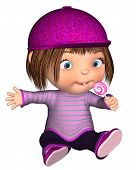 Cute Toon Kid Sitting with Pink Lollipop