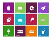 picture of high calorie foods  - Fast food icons on color background - JPG
