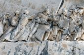 LISBON - MARCH 26: Details of the Monument to the Discoveries (Padrao dos Descobrimentos) on the ban