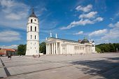 VILNIUS, LITHUANIA  August 12, 2013 - Granite Cathedral pubic domain square area