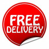Free Delivery Round Red Sticker On White Background