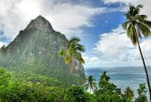 Panorama of Pitons and seashore at Saint Lucia, Caribbean