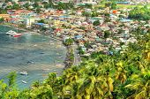 ST.LUCIA - JANUARY 18: Aerial View of Soufriere January 18, 2011 in St. Lucia, Carribean