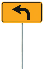 picture of traffic rules  - Left turn ahead route road sign yellow isolated roadside traffic signage this way only direction pointer black arrow frame roadsign grey pole post - JPG