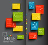 Vector Infographic dark timeline report template with icons