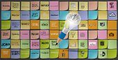 Pencil 3D Light Bulb With Metal Brain Draws Icons Of Business Strategy On Sticky Note As Concept