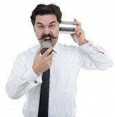 Angry man shouts on tin can telephone isolated on white background