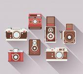 Vector 2D Flat Retro Cameras