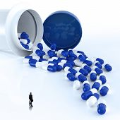 Businessman Looking At 3D Virtual Medical Symbol With Capsule Pills  As Concept
