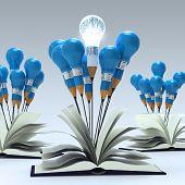 Open Book With 3D Metal Human Brain Inside Pencil Light Bulb As Concept