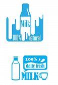 Fresh dairy and 100 percent natural milk labels