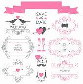 Vector set of wedding design elements