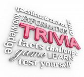 Trivia 3d words in a collage or background including questions, answers, knowledge