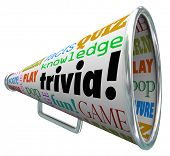stock photo of quiz  - Trivia words on a bullhorn or megaphone to quiz or test your knowledge on pop culture - JPG
