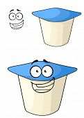 Cheeky cartoon yoghurt with a happy smile