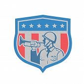 Metallic Soldier Blowing Bugle Crest Stars Retro