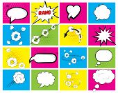 Set of brightly colored speech bubbles