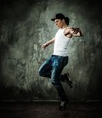 pic of break-dance  - Man dancer showing break - JPG