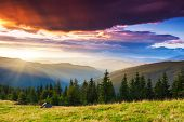 Tourist camp in a mountains. Carpathian, Ukraine, Europe. Beauty world.