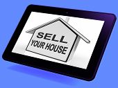 Sell Your House Home Tablet Shows Listing Real Estate