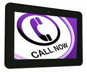 Call Now Tablet Shows Talk Or Chat